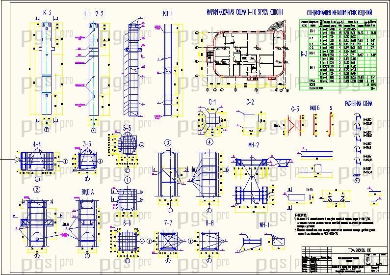Схема расположения фундаментов