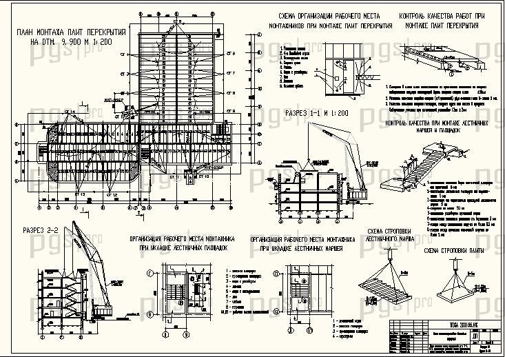 План монтажа колонн, схема