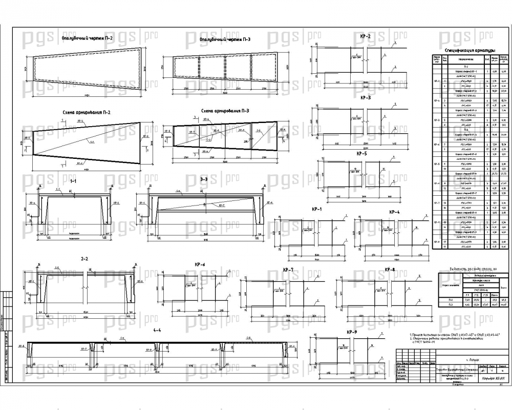Скачать бесплатно дипломный проект ПГС Диплом № Торгово  Опалубочные чертежи и схемы армирования П 2 П 3 разрезы jpg