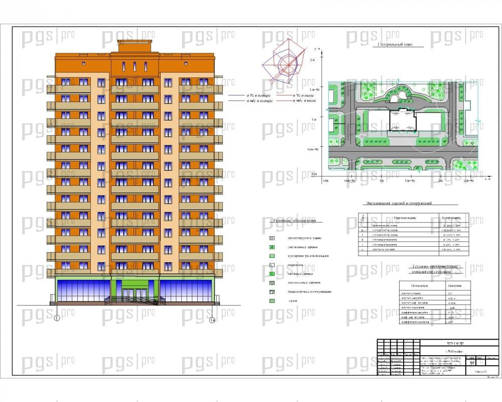 Скачать бесплатно дипломный проект ПГС Диплом № ти  1 Генплан Цветовое решение фасада Экспликация по генплану ТЭП jpg