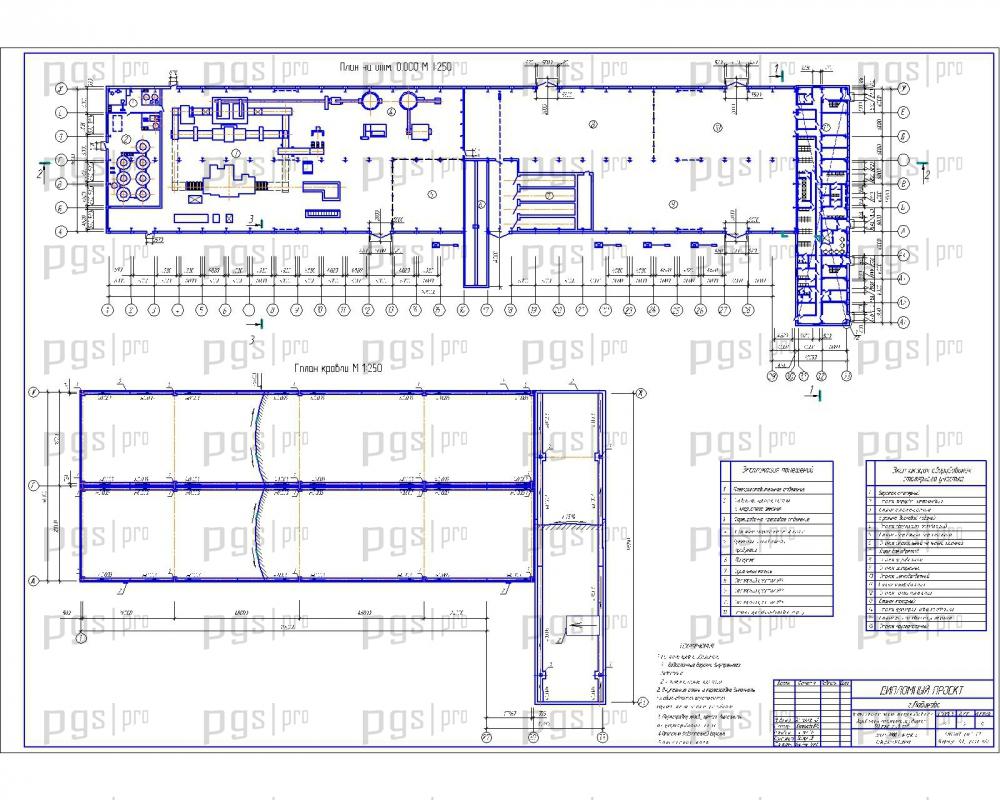 Скачать бесплатно дипломный проект ПГС Диплом № Здание по  2 План отм 0 000 план кровли jpg