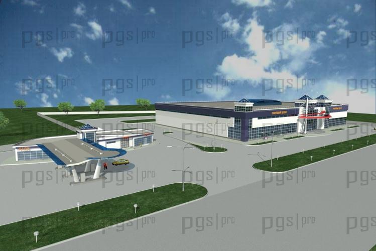 Скачать бесплатно дипломный проект ПГС Диплом № Комплексный  3d модель АЗС и торговый центр 1 jpg